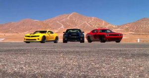 Chevy Camaro HPE650 vs Ford Mustang SuperSnake vs Dodge Challenger SpeedFac ...